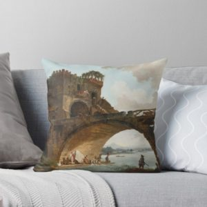 The Ponte Salario Oil painting by Hubert Robert Throw Pillows