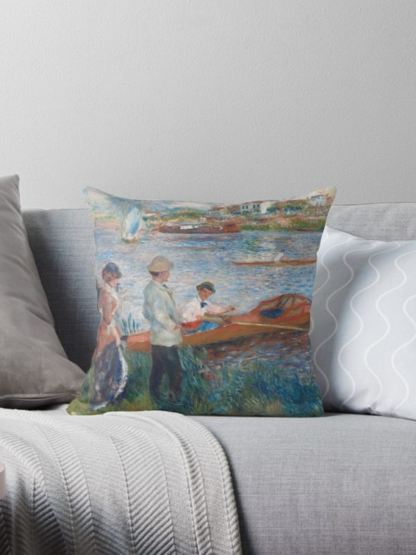 Oarsmen at Chatou Painting by Auguste Renoir Throw Pillows