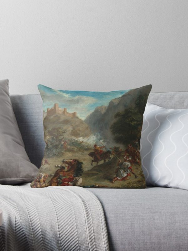 Arabs Skirmishing in the Mountains Oil Painting by Eugène Delacroix Throw Pillows