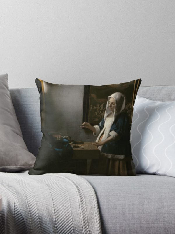 Woman Holding a Balance Oil Painting by Johannes Vermeer Throw Pillows