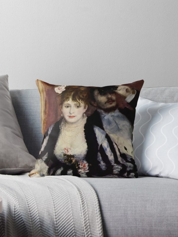 The Theatre Box -  La Loge Oil Painting by Auguste Renoir Throw Pillows