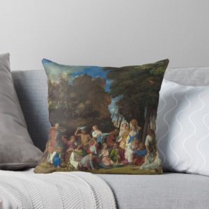 The Feast of the Gods Painting by Giovanni Bellini and Titian Throw Pillows