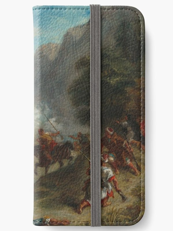 Arabs Skirmishing in the Mountains Oil Painting by Eugène Delacroix iPhone Wallets
