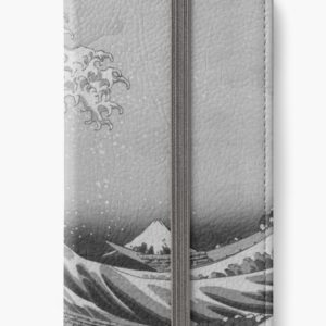 Black and White Japanese Great Wave off Kanagawa by Hokusai iPhone Wallets