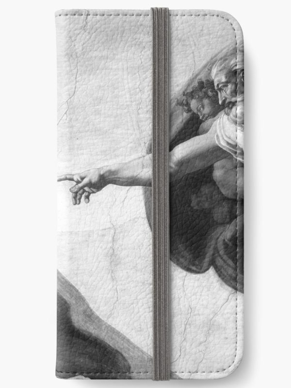 Black and White Creation of Adam Painting by Michelangelo Sistine Chapel iPhone Wallets