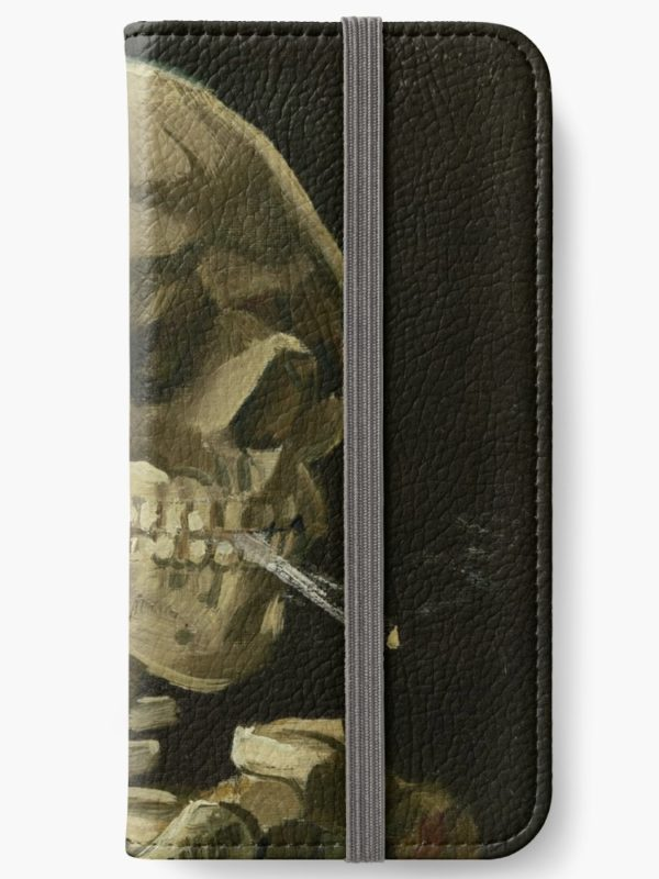 Skull of a Skeleton with Burning Cigarette by Vincent van Gogh iPhone Wallets