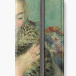 Woman with a Cat Oil Painting by Auguste Renoir iPhone Wallets