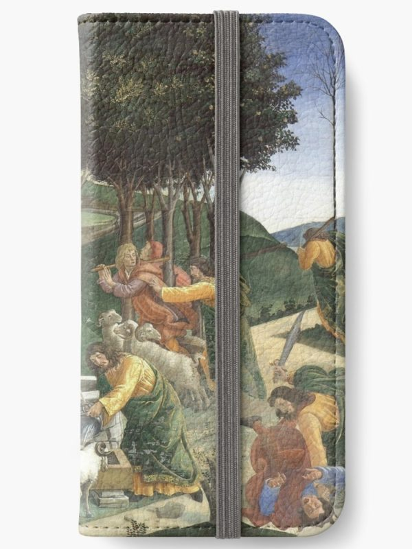 Trials of Moses Painting by Botticelli - Sistine Chapel iPhone Wallets