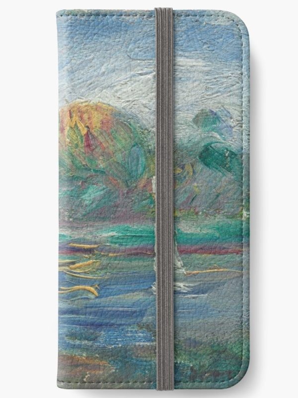 The Blue River Oil Painting by Auguste Renoir iPhone Wallets