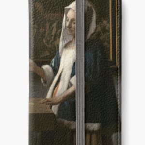 Woman Holding a Balance Oil Painting by Johannes Vermeer iPhone Wallets