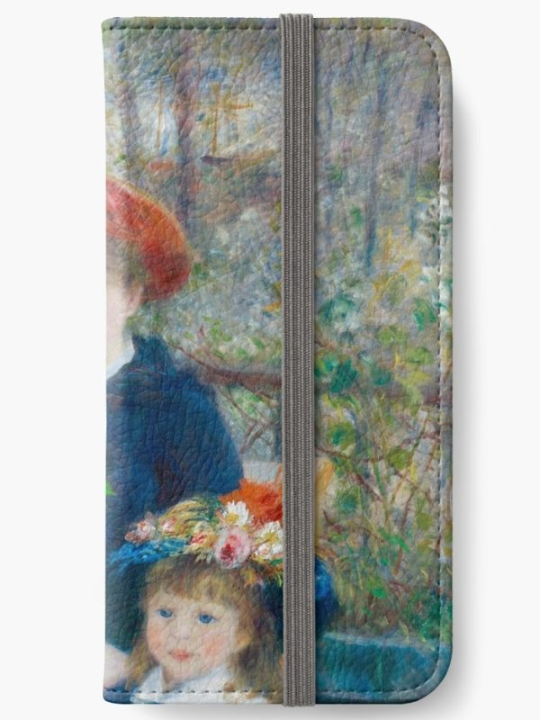 Two Sisters on the Terrace Oil Painting by Auguste Renoir iPhone Wallets